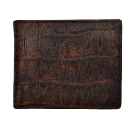 232 Leather - 3D Western Wallet Mens Bifold Gator Print Leather Pockets Cognac W232