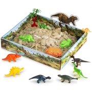 Play Sand Dinosaur Toys, Sand Box with Dinsoaur Figures, Dinosaur Molds, Magic Sand and Accessories