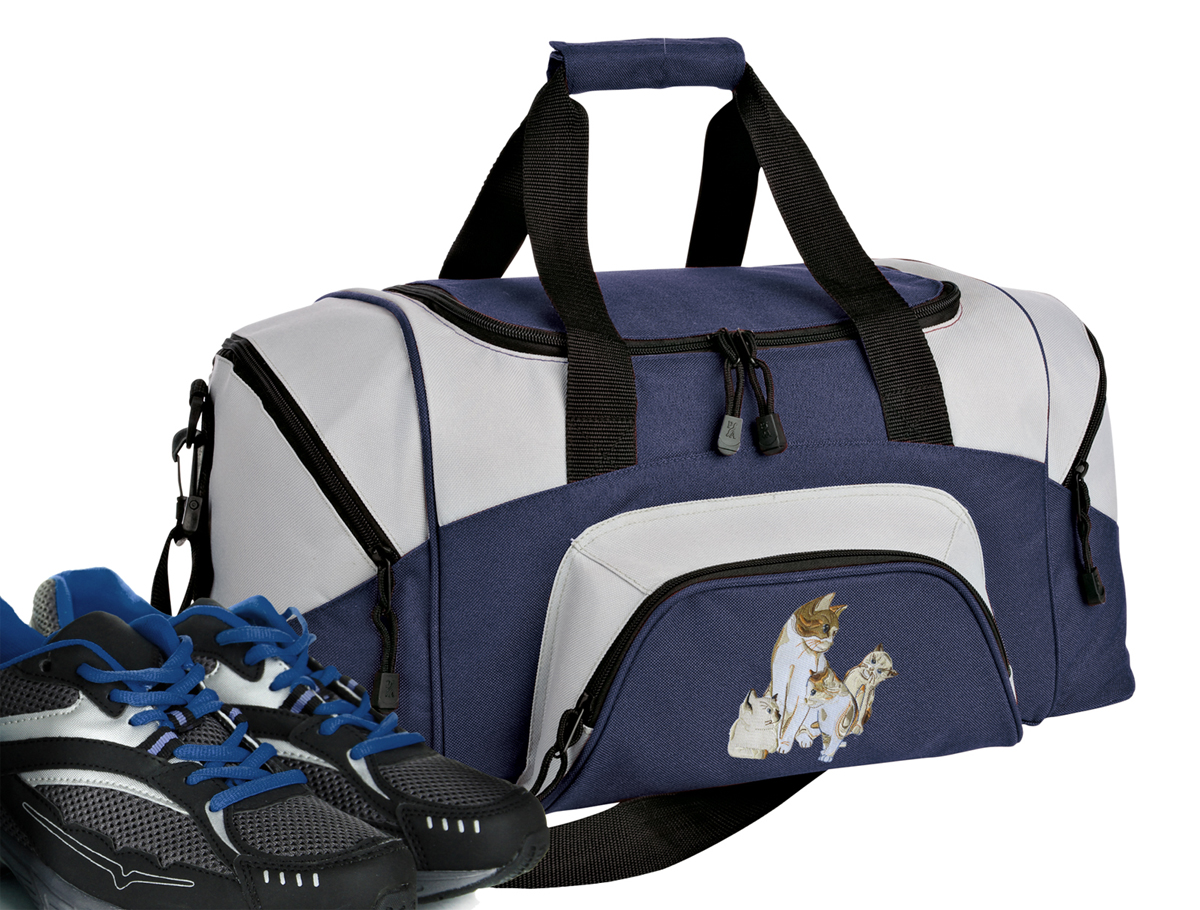 Small Cute Cats Duffle Bag or Small Cat Gym Bags by