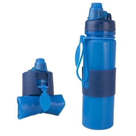 Silicone Water Bottle Foldable Collapsible Anti Leakage, Leak Proof Twist Cap, BPA Free FDA Approved Foldable Water Bottle for Sport, 17oz/500ml, Blue - image 1 de 7