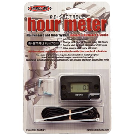 Hardline Re-Settable Hour Meter for Outboard and Inboard Engines