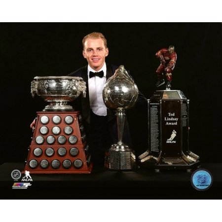 Patrick Kane with the 2016 Art Ross and Hart trophies & the Ted Lindsay Award Photo Print