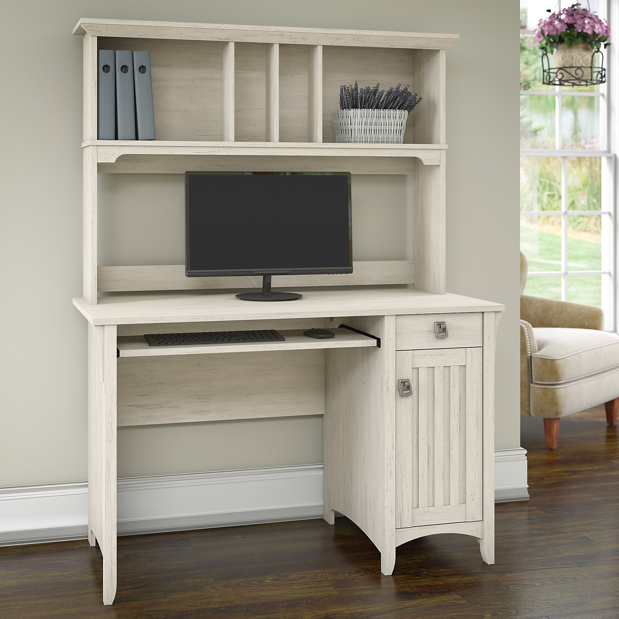 Bush Furniture Salinas Mission Style Desk with Hutch in Antique White
