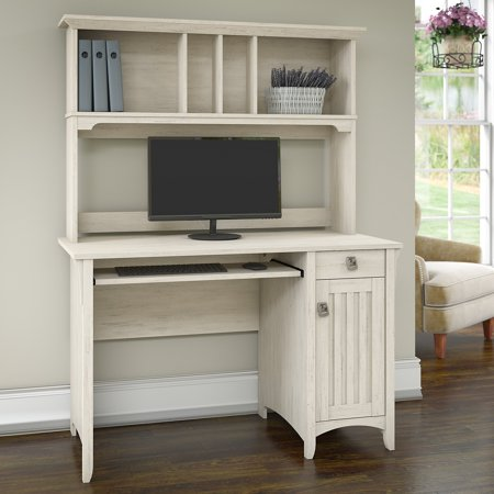 Bush Furniture Salinas Mission Style Desk with Hutch in Antique White - Bush Furniture Salinas Mission Style Desk With Hutch In Antique