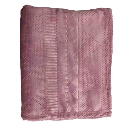 The Big One Super Soft Plush Throw Blanket Oversized 60 x 72 Embossed Mauve Pink