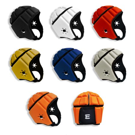 EliteTek Soft Padded Headgear - 7v7 Soft Shell Rugby - Flag Football Helmet - Soccer Goalie & Epilepsy Protection - Youth & Adult (Red, Medium)