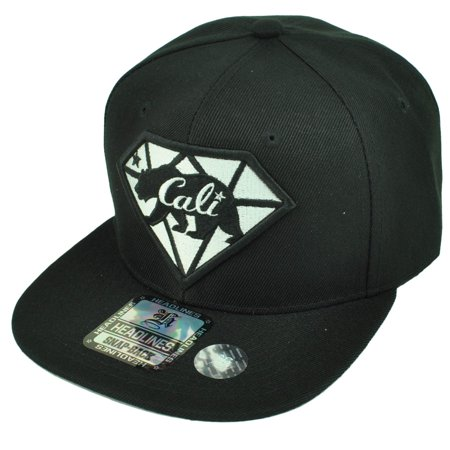54483d7b California Cali Bear Republic Hat Cap Snapback Flat Bill Black Diamond  State USA - Walmart.com