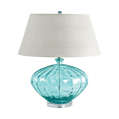 New Product  Recycled Fluted Glass Urn Table Lamp In Blue 210 Sold by VaasuHomes