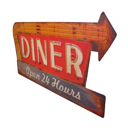 Distressed Finish Retro 24 Hour Diner Metal Sign - image 1 of 3