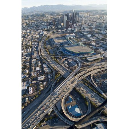 Aerial of Los Angeles with a Freeway Interchange in the Foreground and Downtown Usa Print Wall Art By Natalie Tepper - Party Supplies Downtown Los Angeles