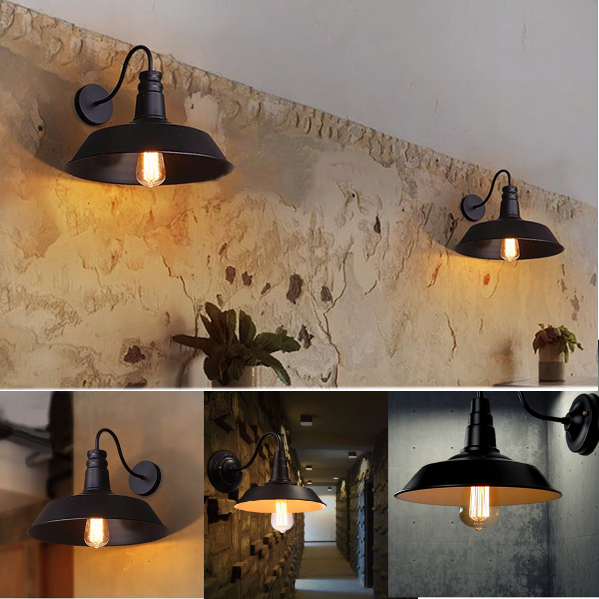 Vintage Retro Iron Industrial Edison Loft Rustic Wall Sconce Gooseneck Light Lamp Metal... by