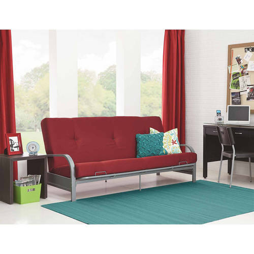 Mainstays Silver Metal Arm Futon Frame with Full Size Mattress, Multiple Colors by Dorel Home Products