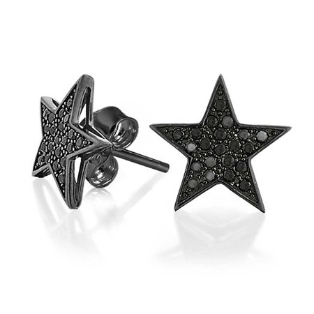 Simple Black Patriotic Star Cubic Zirconia Micropave CZ Stud Earrings For Men Women Black Plated 925 Sterling - Patriotic Earrings