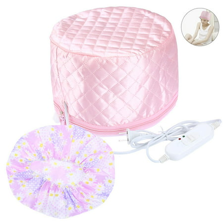 PRETTY SEE Hair Steamer Cap Beauty Steamer Nourishing Hat Hair Thermal Treatment Cap with 3 Mode Temperature Control, Pink - Bald Cap With Hair On Sides