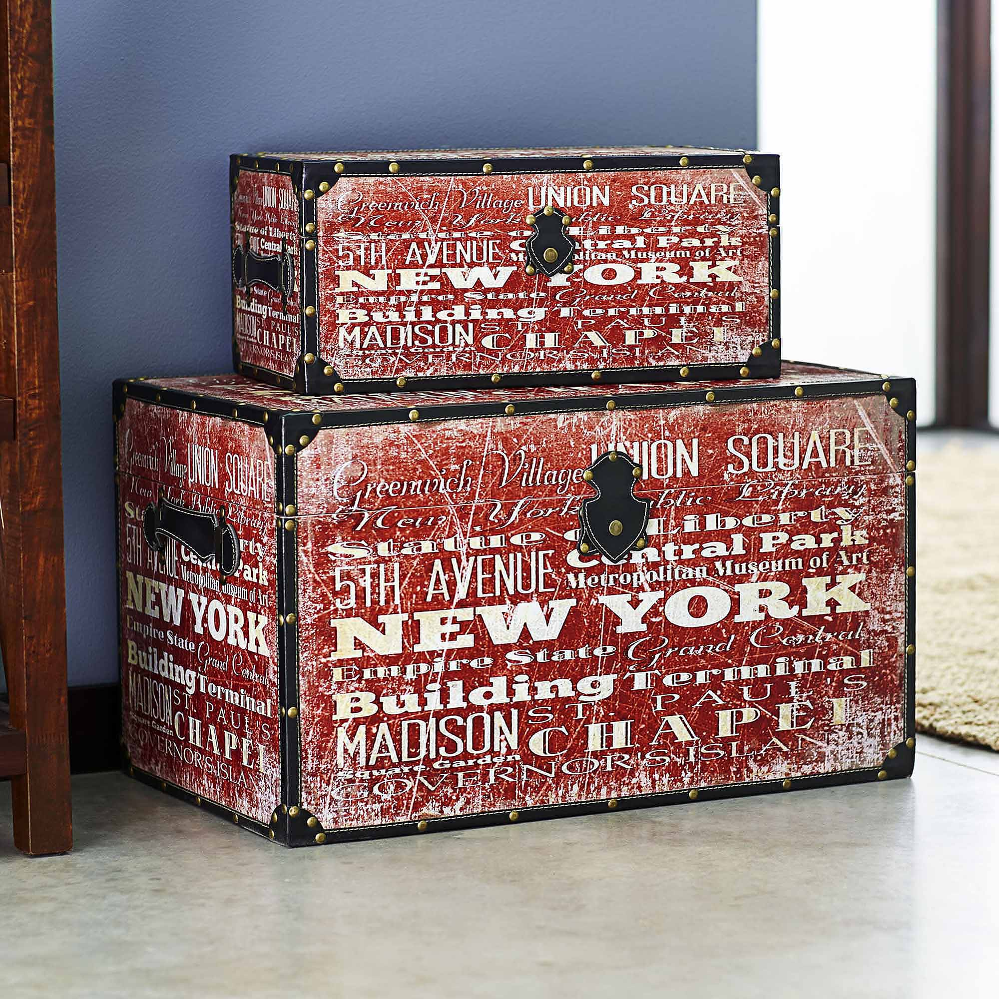 Household Essentials New York Design Trunk, Jumbo and Medium Set