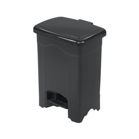 Outdoor Trash Receptacle - Lot of 32 Outdoor 4-Gallon Capacity Plastic Step-On Black Receptacle Trash Can-9710BL