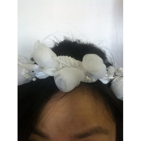 CHARMED WHITE ORGANZA FLOWER HEADPIECE FOR COMMUNION, FLOWER GIRL, WEDDING](Flower Headpiece)