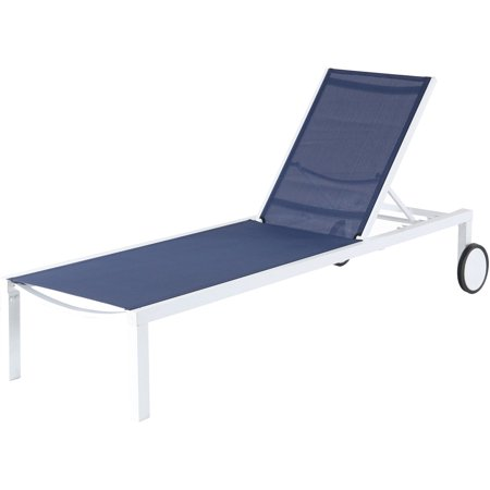 Mōd Furniture Peyton Sling Armless Chaise Lounge in White/Navy