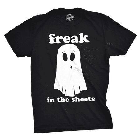 Mens Freak In The Sheets Tshirt Funny Bedsheet Ghost Halloween Tee For Guys