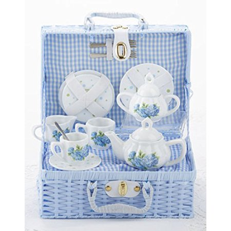 Delton Child's Porcelain Tea Set for 2 in Wicker Basket (Service Basket)