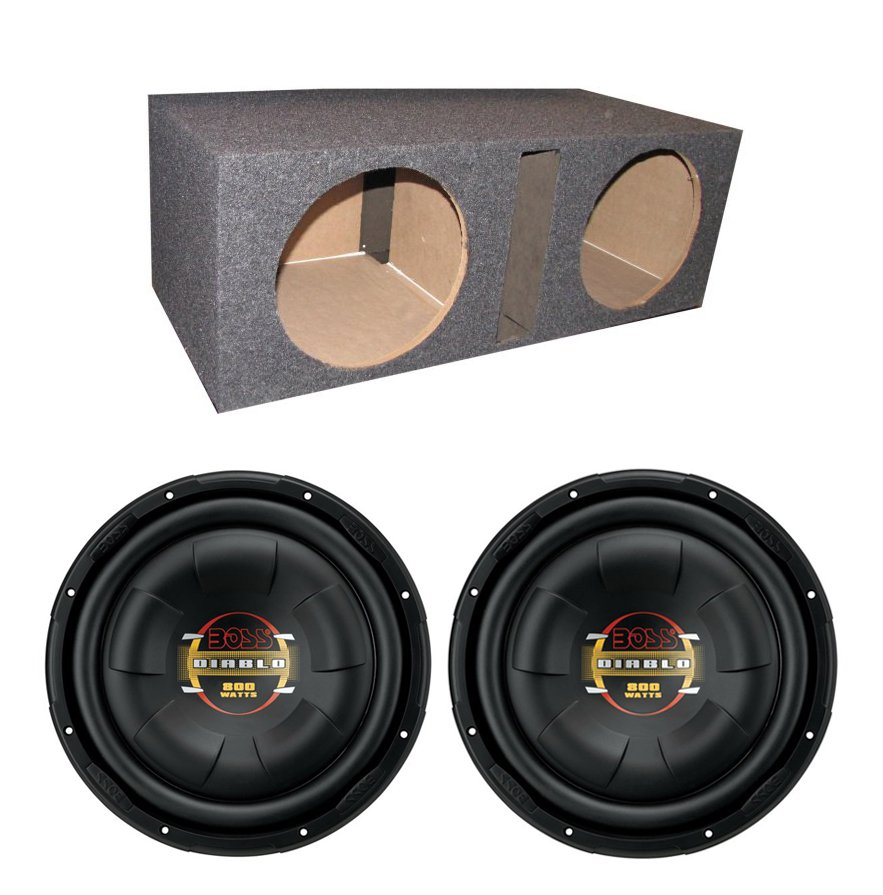 "(2) BOSS D10F 10"" 1600W Shallow Slim Car Audio Subwoofers + Dual Vented Sub Box"