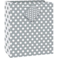 "Silver Polka Dot Gift Bag, 9"" x 7"""