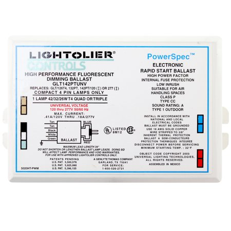 42w Compact Fluorescent Lamp - Lightolier GTL142PUNV Compact Fluorescent Dimming Ballast, 1 Lamp, 42W, 120/277V