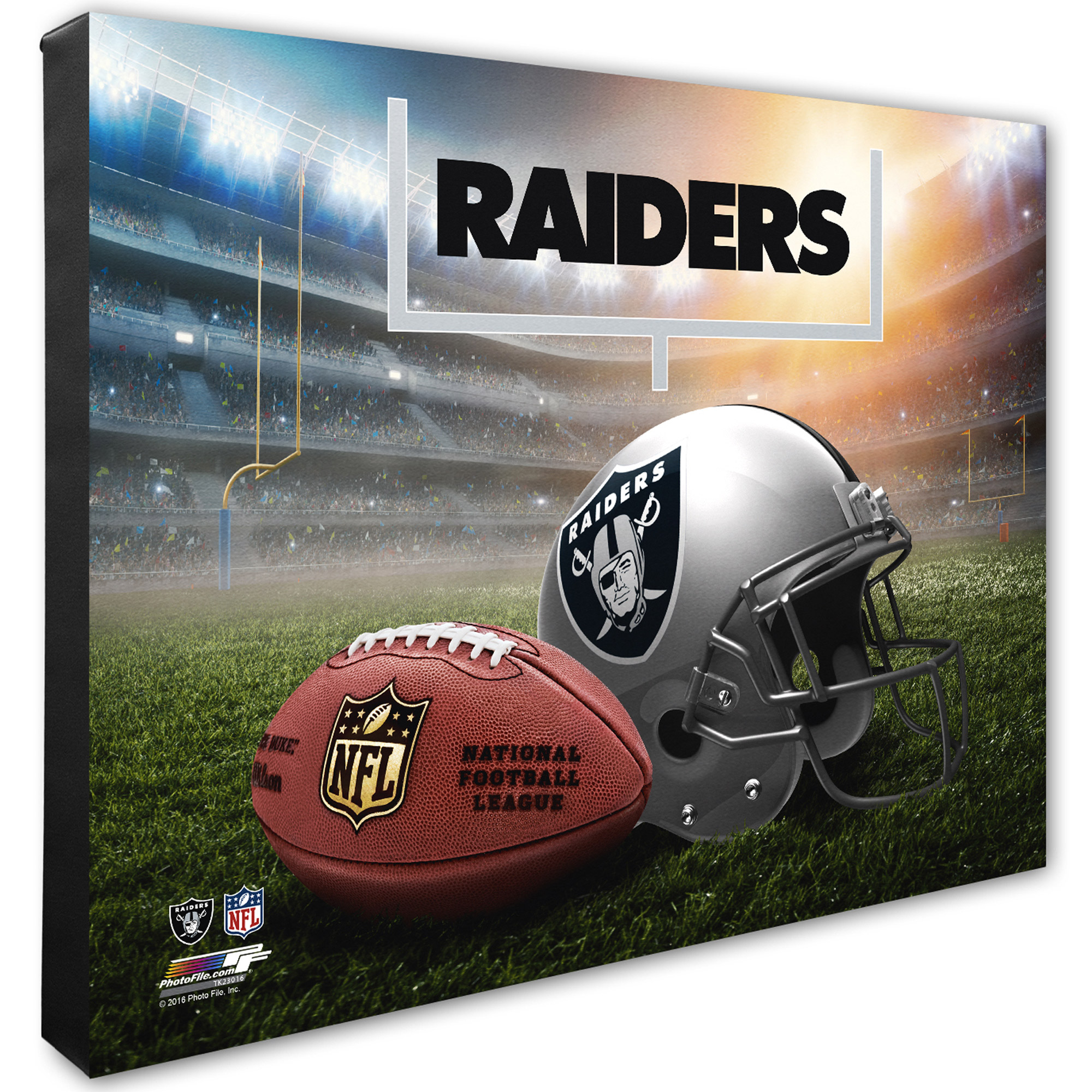 "Oakland Raiders 16"" x 20"" Helmet & Stadium Canvas - No Size"