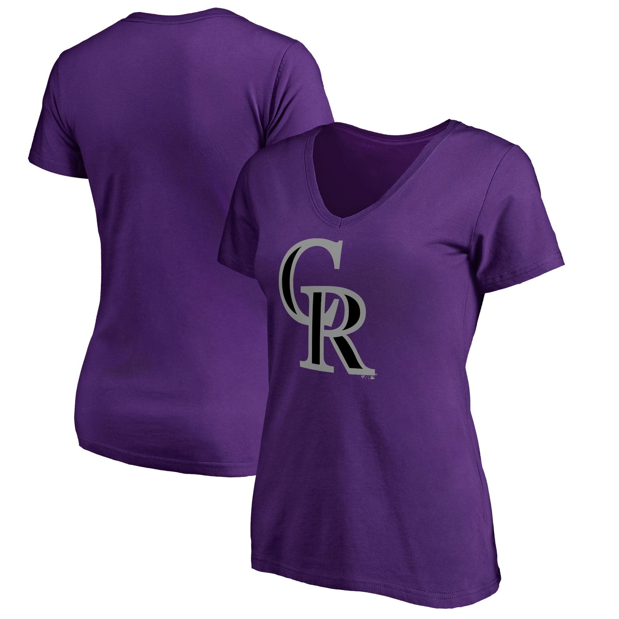 Colorado Rockies Women's Plus Sizes Primary Team Logo T-Shirt - Purple