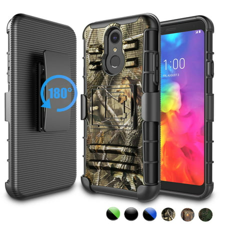 LG Q7 Case, LG Q7 Plus Holster Belt, LG Q7 Alpha Clip, Njjex [Heavy Duty] Armor Shock Proof [Belt Clip] Holster [Kickstand] Combo Rugged Case For LG LM-Q610 / LG Q7