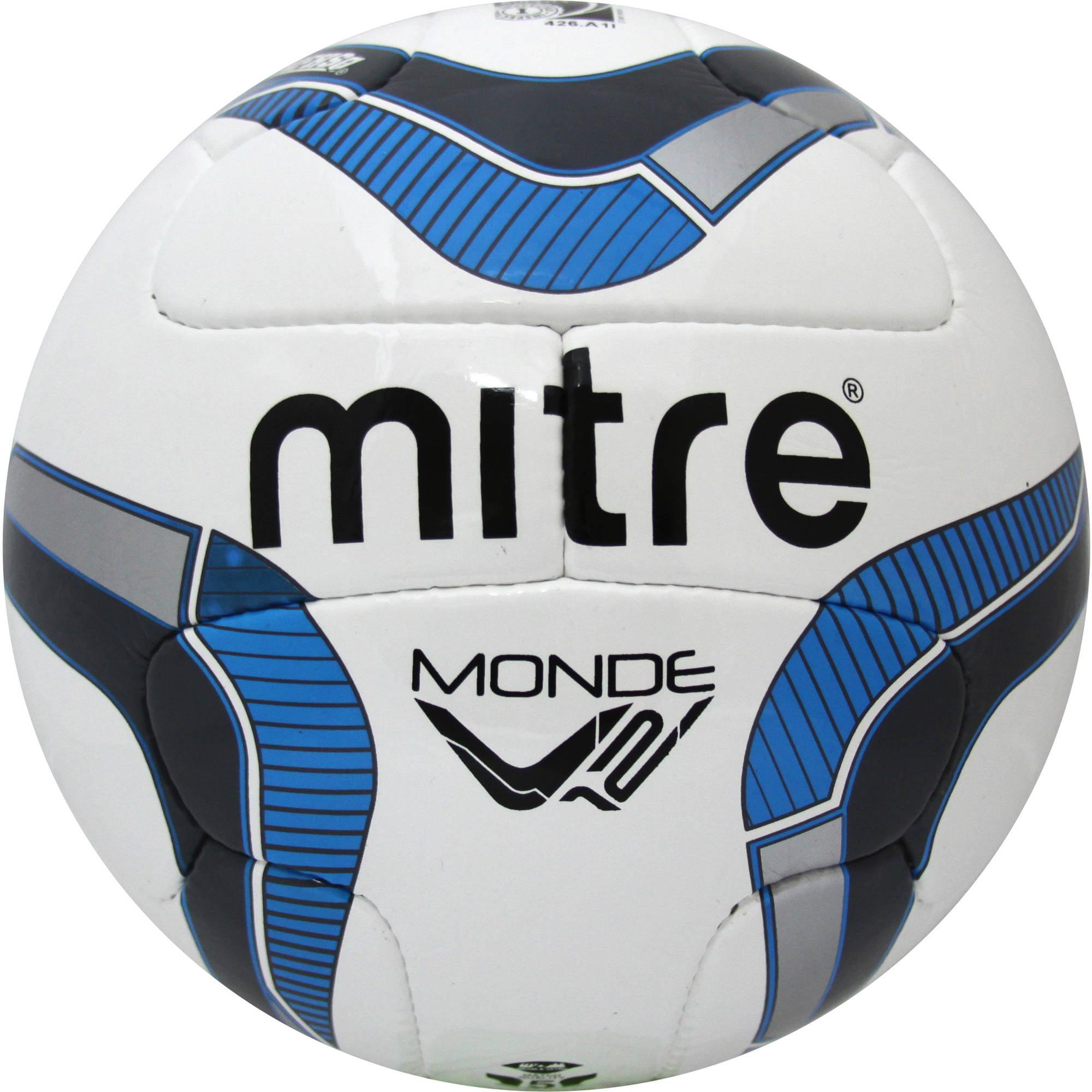 Mitre Monde V12 with NFHS Logo White/Grey/Blue Soccer Ball