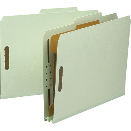 Smead, SMD13723, 1-Divider Recycled Pressboard Classification Folders, 10 / Box, Gray,Green