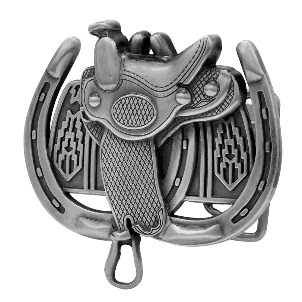 Buckle Rage Lucky Horseshoe Saddle Western Cowboy Rodeo Belt Buckle, SILVER, 258