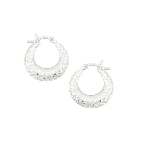 Sterling Silver 18x4mm Graduated Diamond Cut Puffed Hoop Earrings