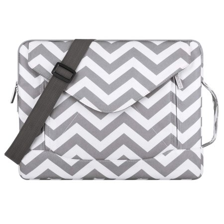 Mosiso Laptop Shoulder Bag for 13-13.3 Inch MacBook Pro, MacBook Air, Notebook, Polyester Fabric Envelope Messenger Laptop Sleeve Handle Case Cover, Chevron