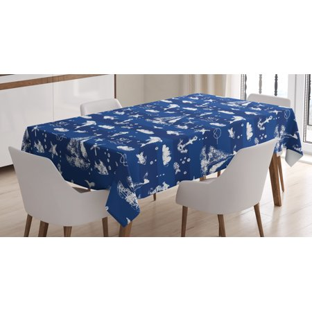 Navy Blue Decor Tablecloth Sailboat Over Stripe Pattern Anchor Fishes Gulls Paint Nautical Themed Rectangular Table Cover For Dining Room Kitchen