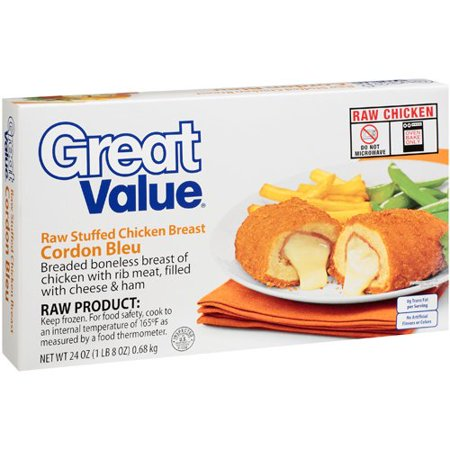 Great Value: Raw Stuffed Chicken Breast Cordon Bleu, 24 Oz - Walmart ...