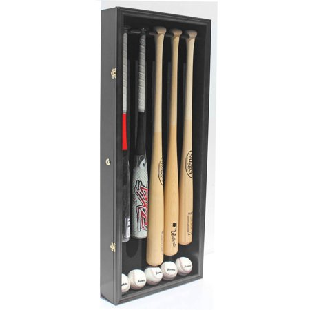 Pro UV 5 Baseball Bat Display Case Holder Rack Wall Cabinet, Horizontal / Vertical Wall Mount B55 (Black Finish) ()