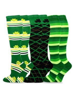 TeeHee Women's St. Patricks Day Cotton Knee High Socks 3-Pack (Irish)