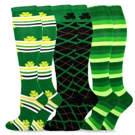TeeHee St. Patricks Day Cotton Knee High Socks for Women 3-Pack - St Pattys Day Socks