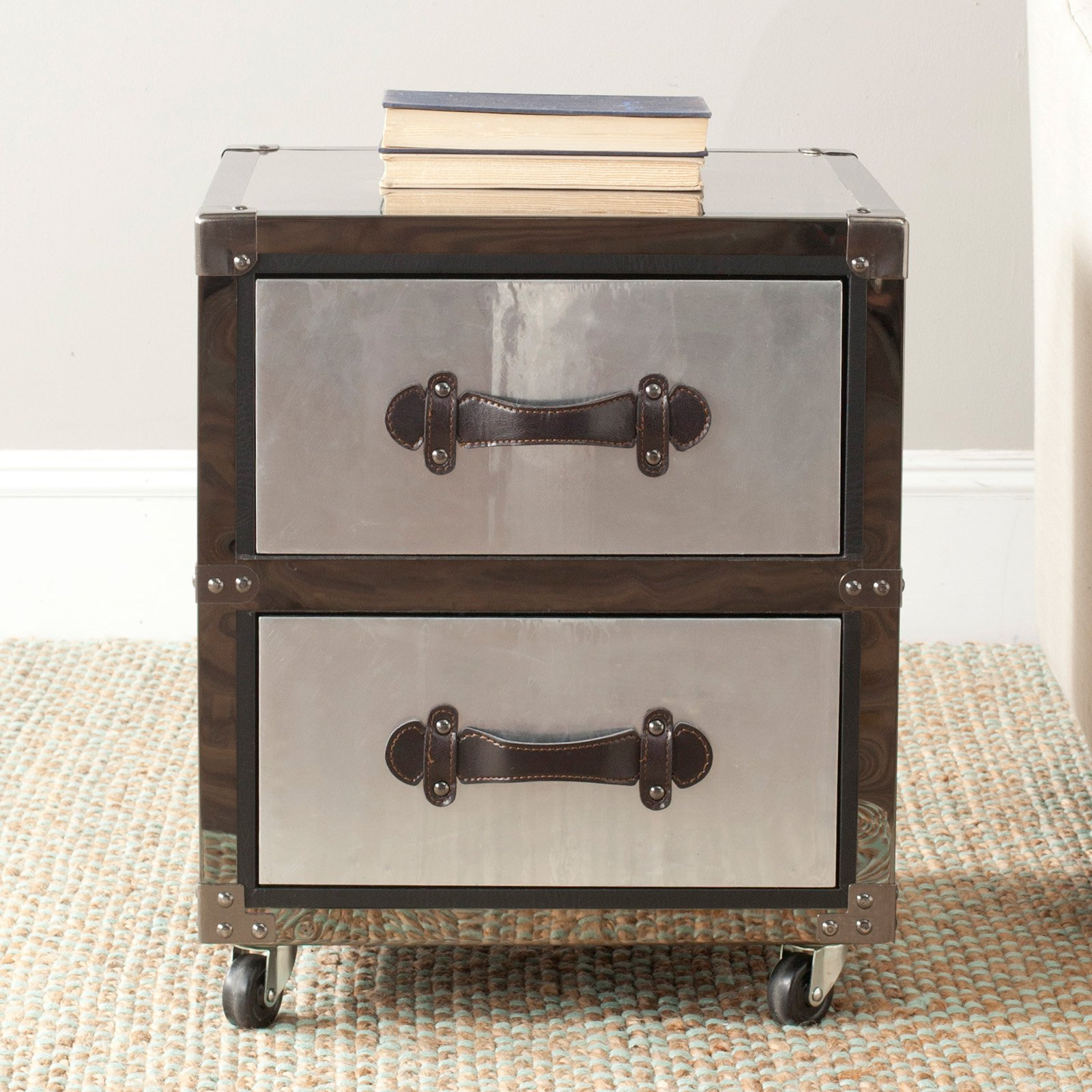 Safavieh Gage 2 Drawer Rolling Chest - Black-Silver