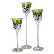 """Set of 3 Grapes and Vines Hand Painted Stemmed Glass Votive Candleholders 12"""""""