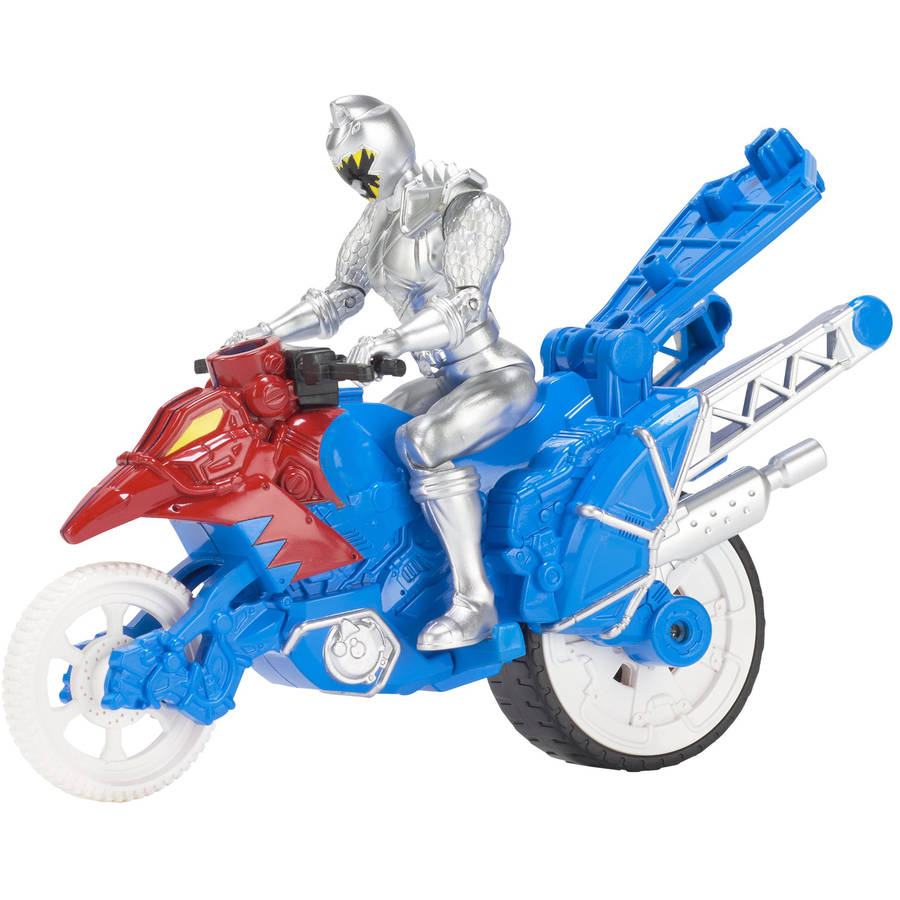 Power Rangers Dino Super Charge Dino Stunt Bike and Silver Ranger