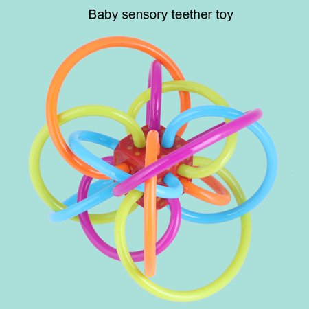 vgeby bright colorful baby sensory teether teething gumming babies pu tubing rattle toy teether activity