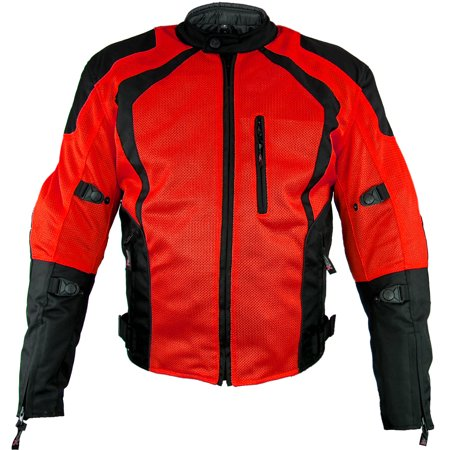 Xelement XS3012 Cyclone Mens Black/Red Mesh Tri-Tex Armored Motorcycle Jacket