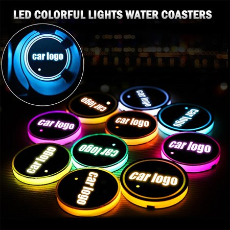 DIY Led Car Logo Cup Lights up Holder USB Charging Waterproof Bottle Drinks pad 7 Colors Changing Atmosphere Lamp mat Cars for Luminous Coasters 2PC (For - Led Light Up Cups