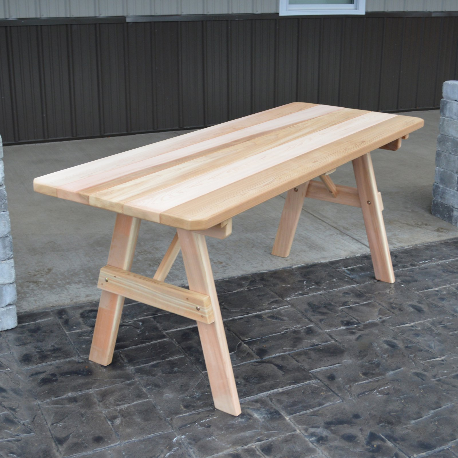 A & L Furniture Western Red Cedar Traditional Picnic Table - Table Only