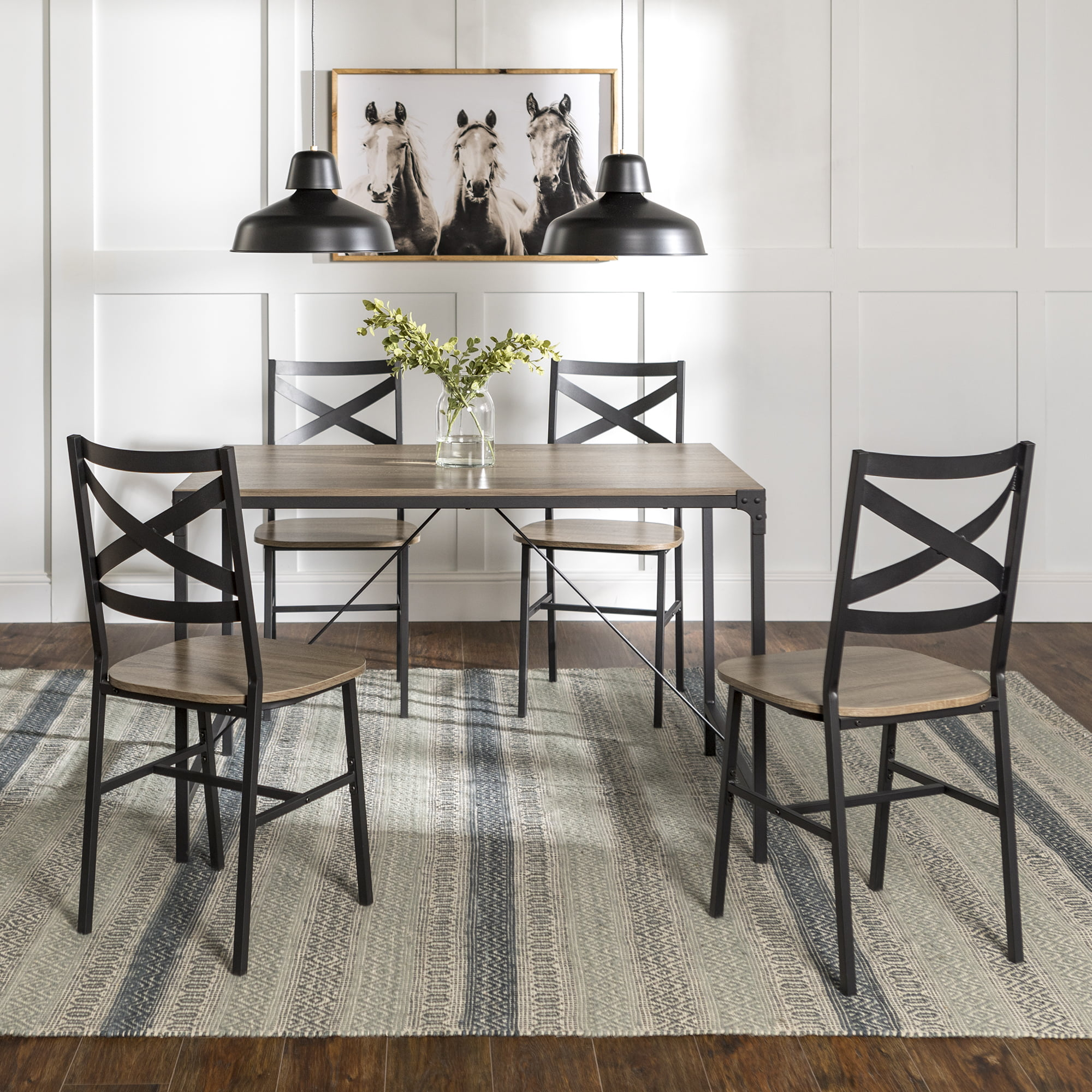 Picture of: Manor Park Angle Iron Rustic Wood 5 Piece Dining Table Set Driftwood Walmart Com Walmart Com