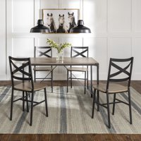 Manor Park Angle Iron Rustic Wood 5-Piece Dining Table Set - Driftwood