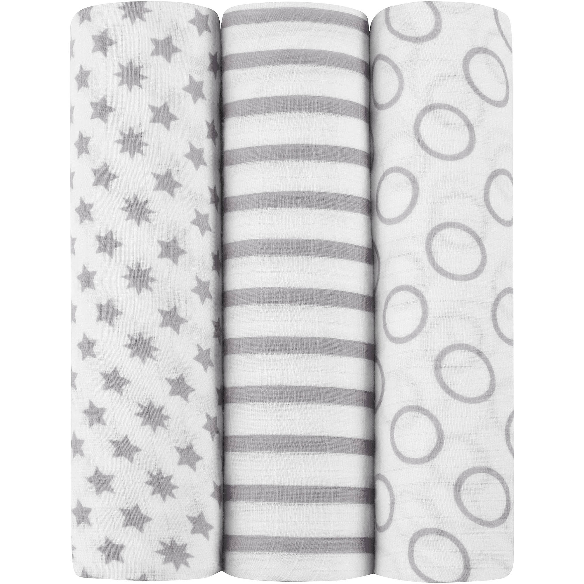 ideal baby by the makers of aden + anais Muslin Swaddles, 3pk, Pint Size